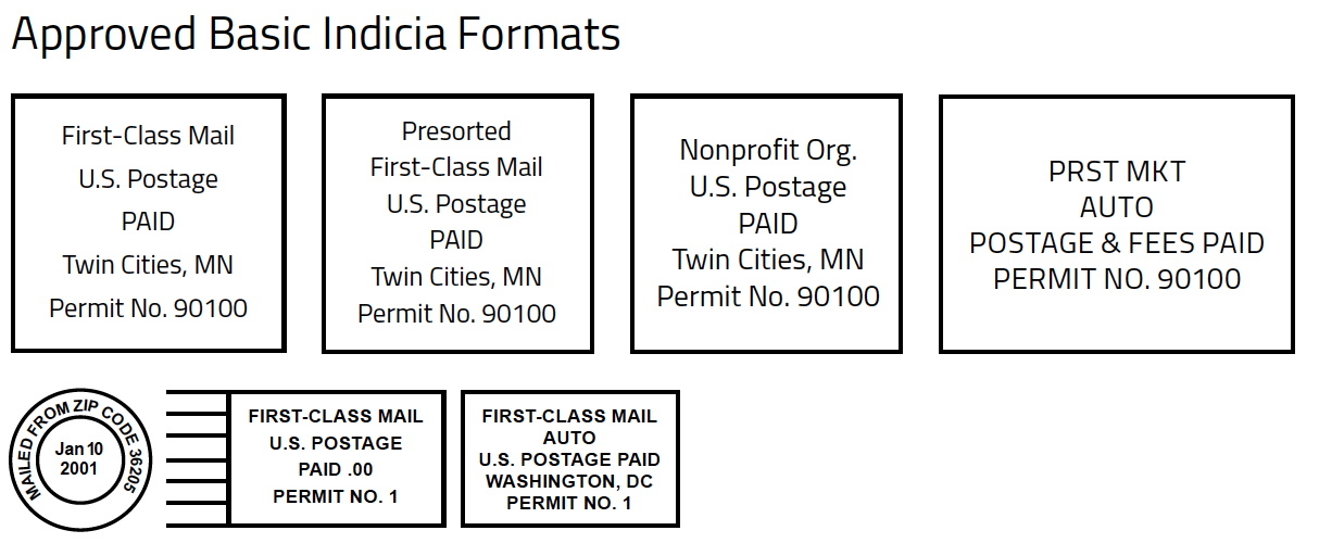 Approved Basic Indicia Formats